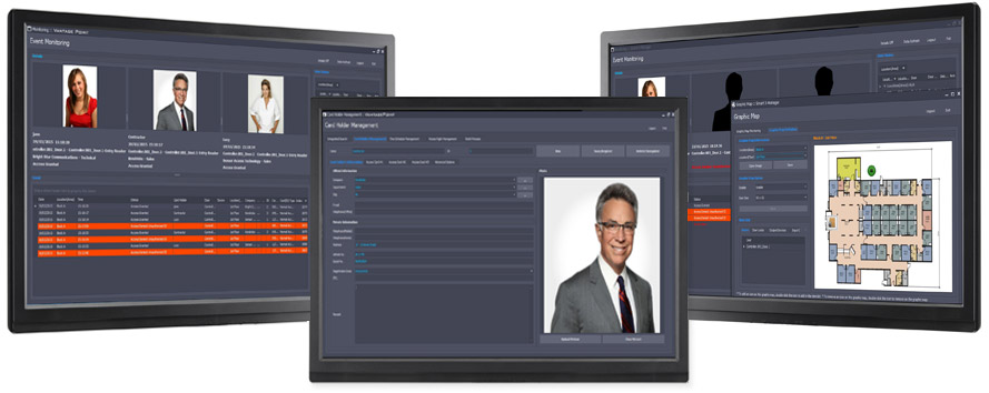Image of the new VantagePoint software - showing three computer screens that demo the software