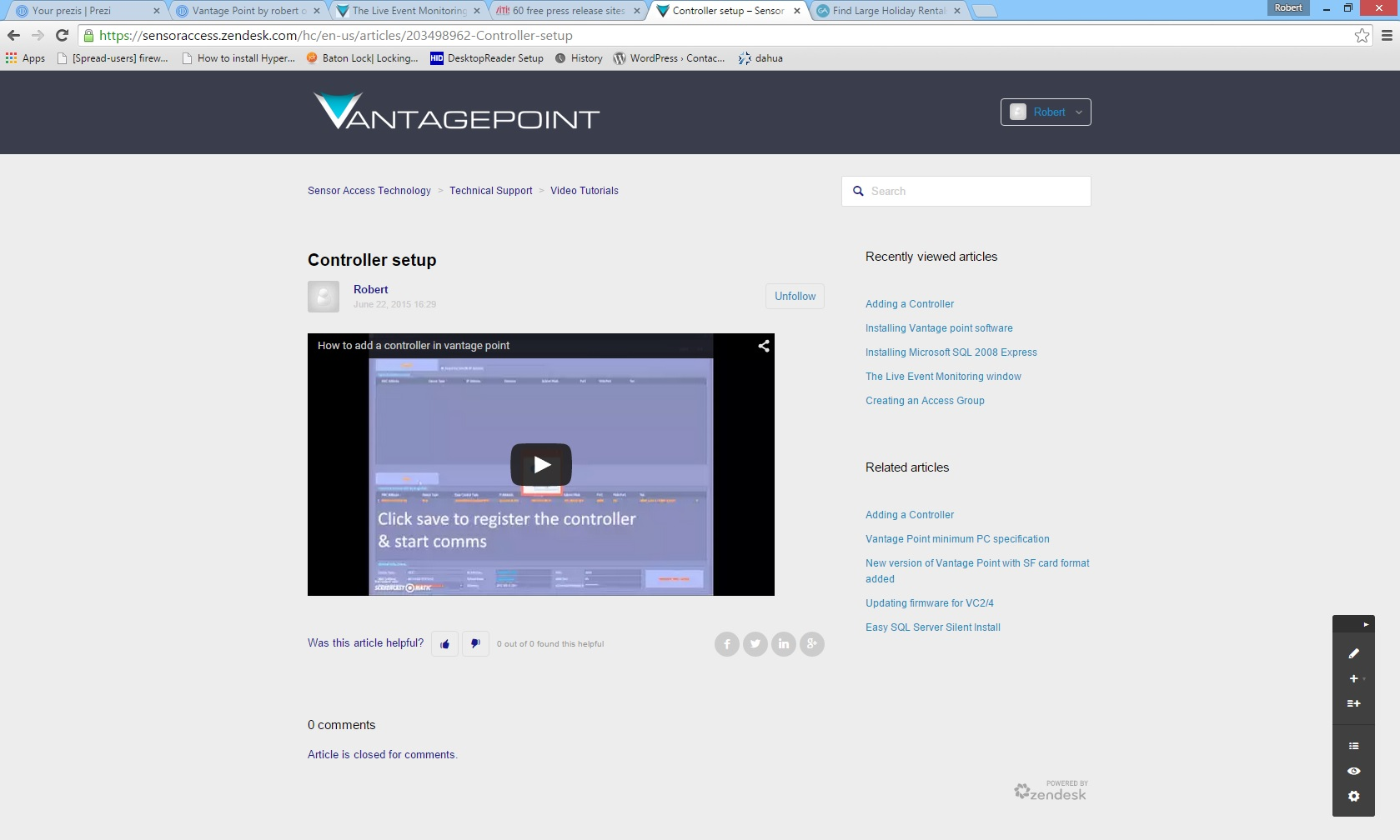Print screen of the VantagePoint support site, showing an example video of a controller set up video