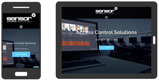 Image showing Sensor Access' new website redesign on two mobile devices - iPhone and iPad