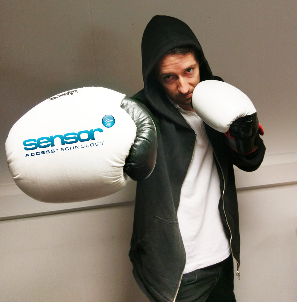 Robert boxing pose with glove pointing towards the screen