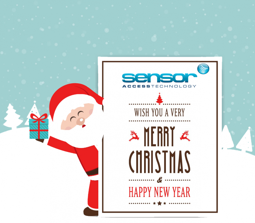 Image of a cartoon santa holding up a sign wishing Sensor Access' customer a Merry Christmas and a Happy New Year