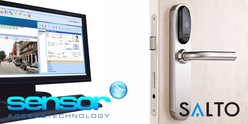 Image showing a computer using the GuardPoint Pro software next to a door commonly used to read cards for access. Included at the bottom of the image are the Sensor Access and SALTO logos