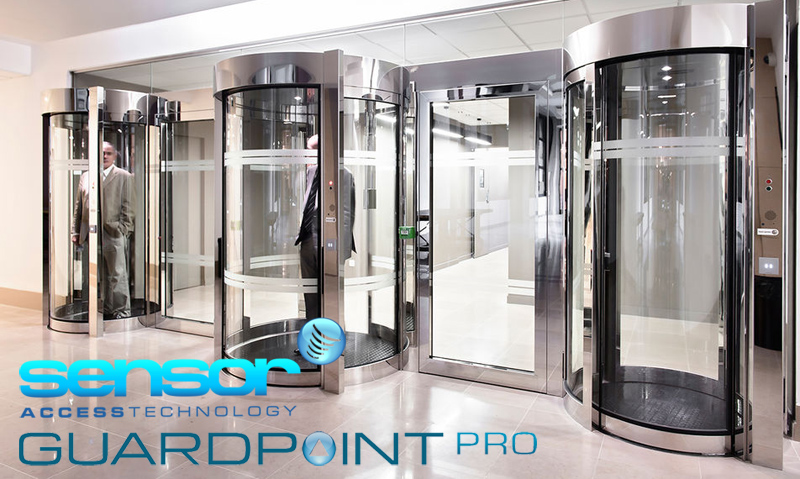 Image of three lifts, occupied by two men in a lobby. The Sensor Access and GuardPoint Pro logos are located at the bottom of the image too