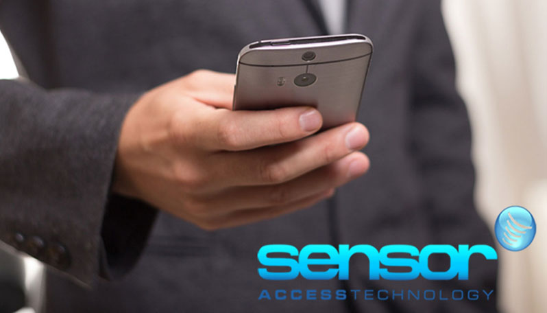 Image of a man holding a phone with the Sensor Access logo - making better use of access control systems