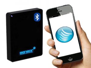 Image of Sensor Access bluetooth reader with a mobile phone being presented to it with the Sensor logo on the screen